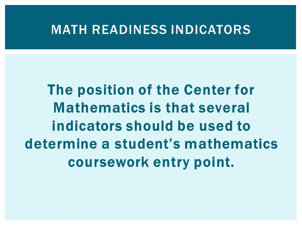 Math Readiness Indicators