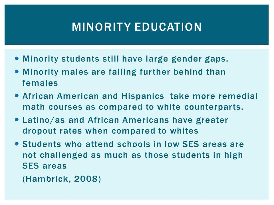 Minority Education Minority students still have large gender gaps.