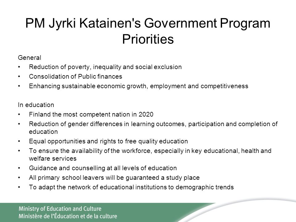PM Jyrki Katainen s Government Program Priorities