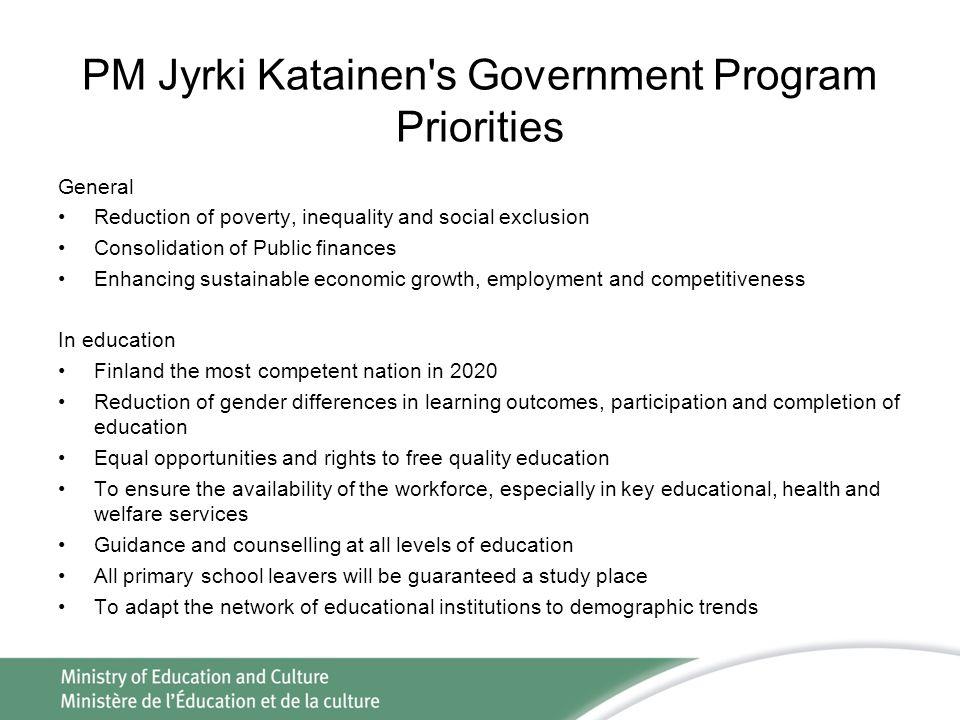 PM Jyrki Katainen s Government Program Priorities