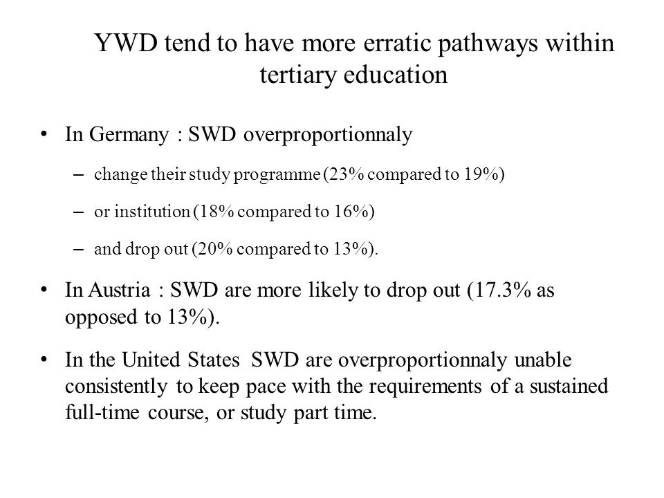 YWD tend to have more erratic pathways within tertiary education