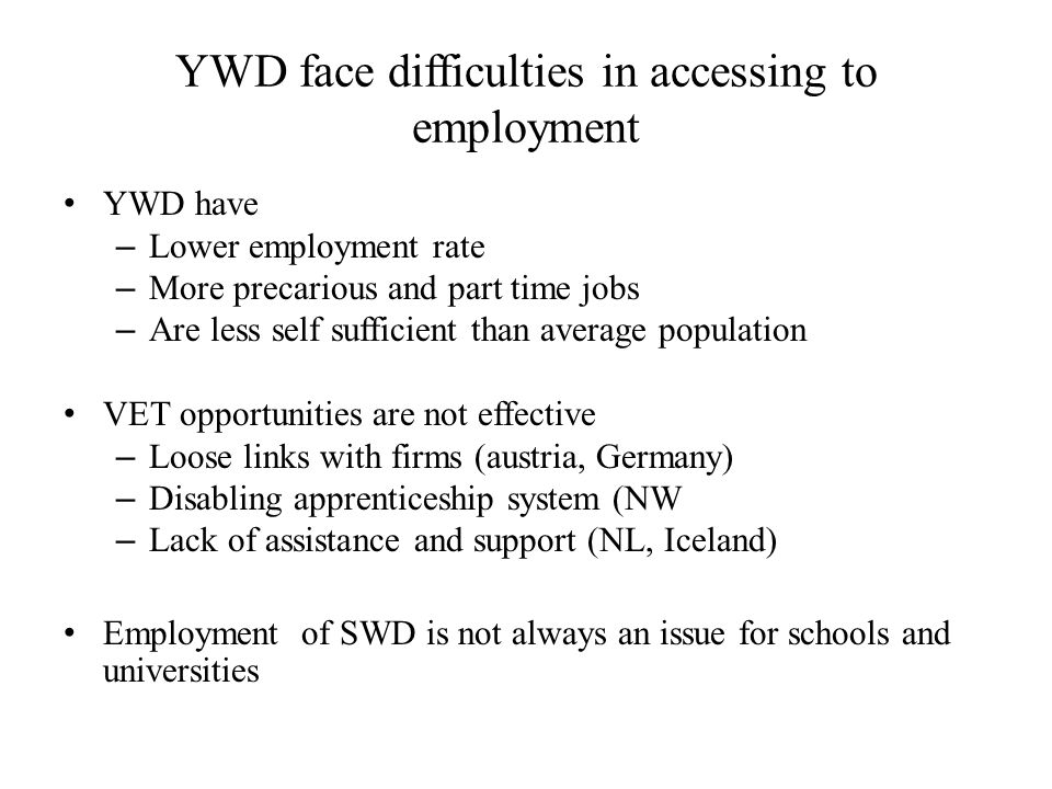 YWD face difficulties in accessing to employment