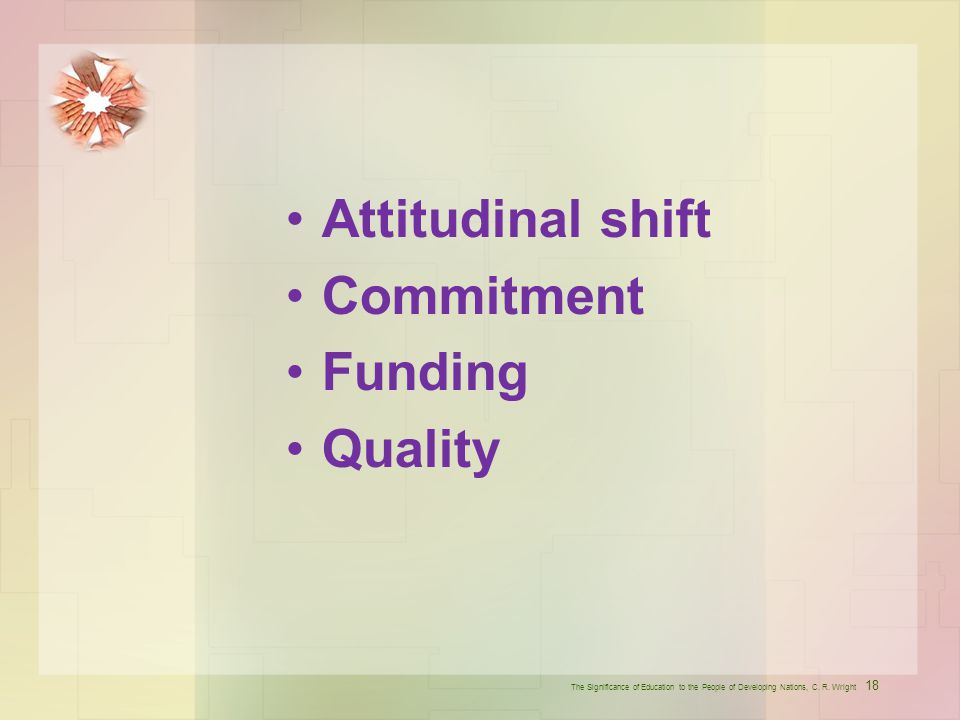 Attitudinal shift Commitment Funding Quality
