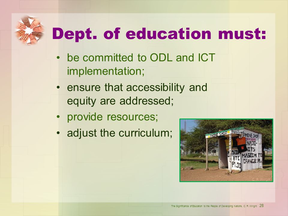 Dept. of education must: