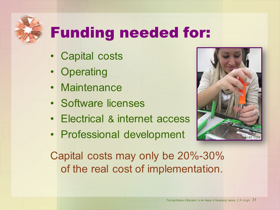 Funding needed for: Capital costs Operating Maintenance