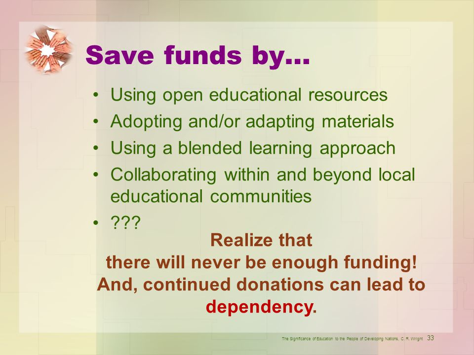 Save funds by… Using open educational resources