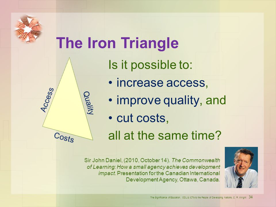 The Iron Triangle Is it possible to: increase access,