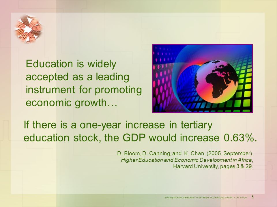 Education is widely accepted as a leading instrument for promoting economic growth…