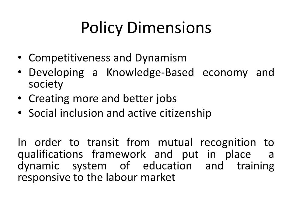 Policy Dimensions Competitiveness and Dynamism