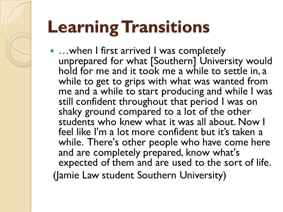 Learning Transitions