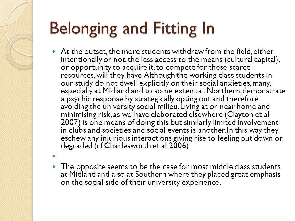 Belonging and Fitting In