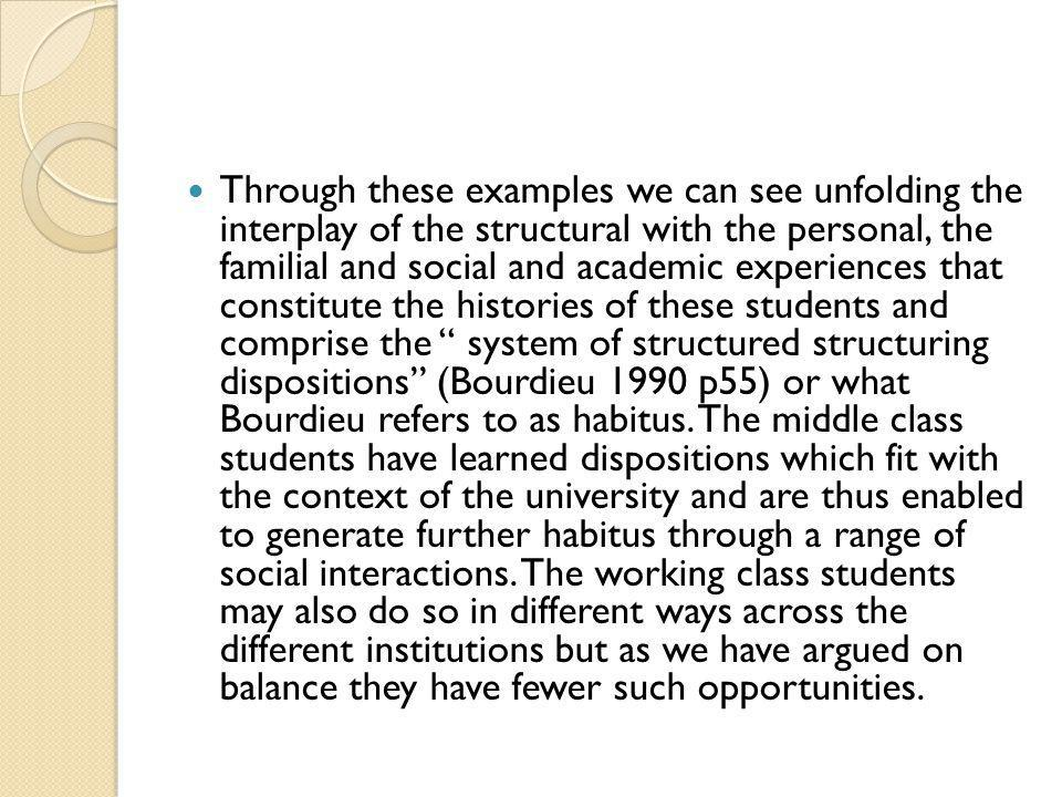 Through these examples we can see unfolding the interplay of the structural with the personal, the familial and social and academic experiences that constitute the histories of these students and comprise the system of structured structuring dispositions (Bourdieu 1990 p55) or what Bourdieu refers to as habitus.