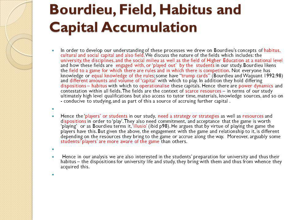 essay on bourdieu habitus Bourdieu, feminism and female  bourdieu's habitus-field complex offers a more detailed account of the  project space final portfolio essay uploaded by.