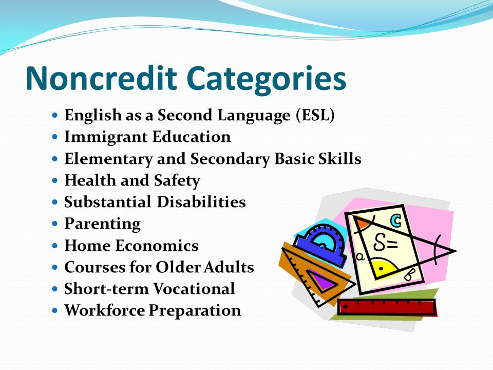 Noncredit Categories English as a Second Language (ESL)
