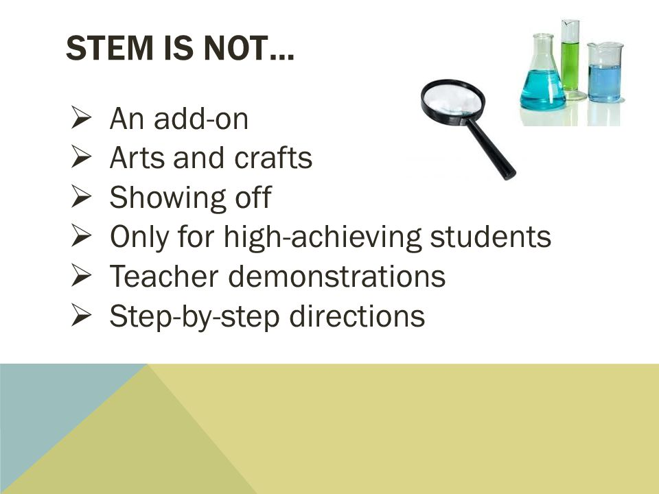 STEM is not… An add-on Arts and crafts Showing off