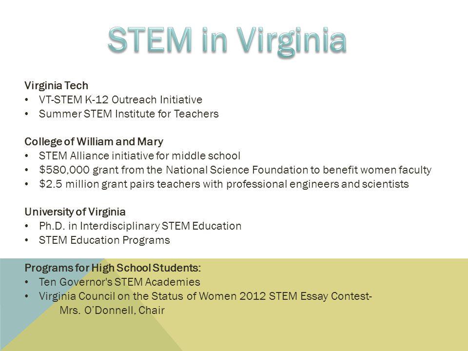 STEM in Virginia Virginia Tech VT-STEM K-12 Outreach Initiative