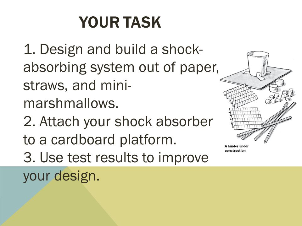your task 1. Design and build a shock-absorbing system out of paper, straws, and mini-marshmallows.
