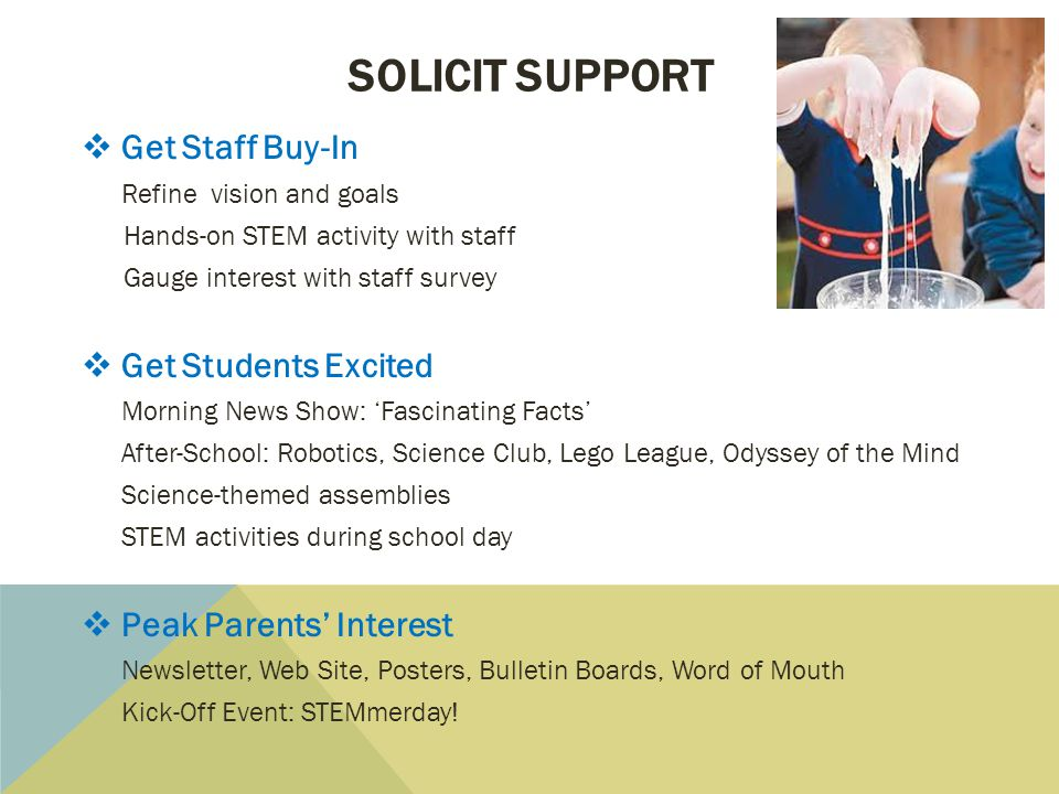 Solicit support Get Staff Buy-In Get Students Excited