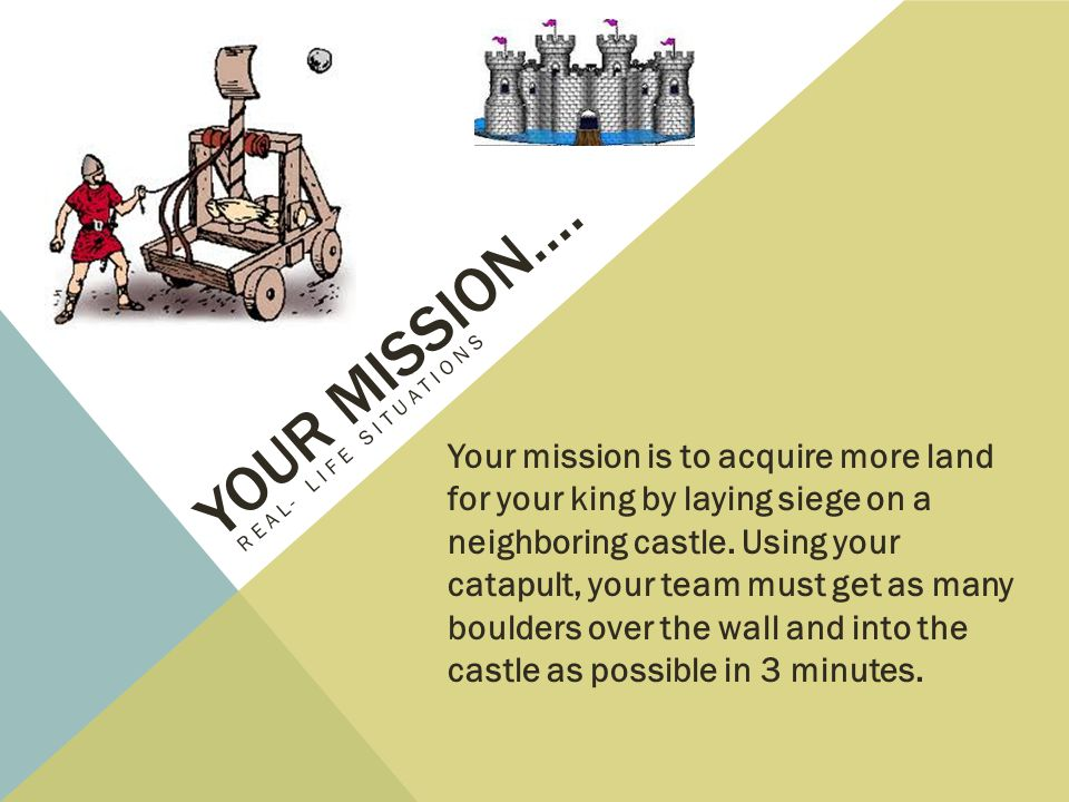 Your mission…. Real- Life Situations.