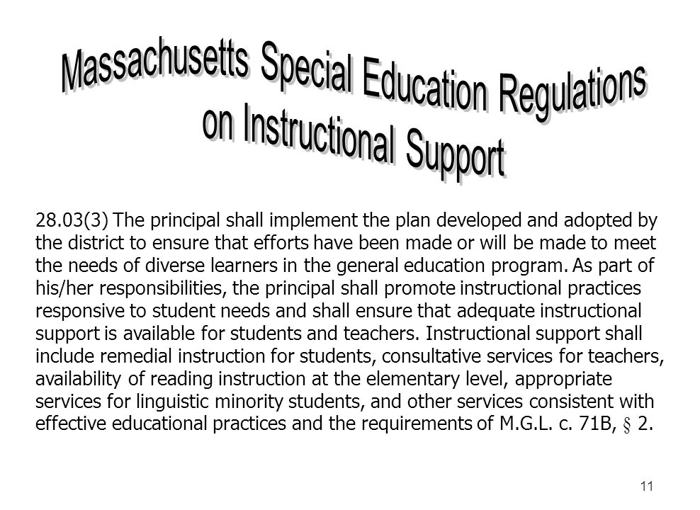 Massachusetts Special Education Regulations on Instructional Support