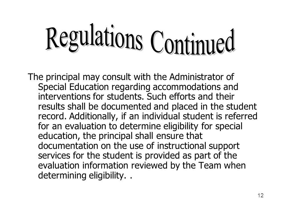 Regulations Continued
