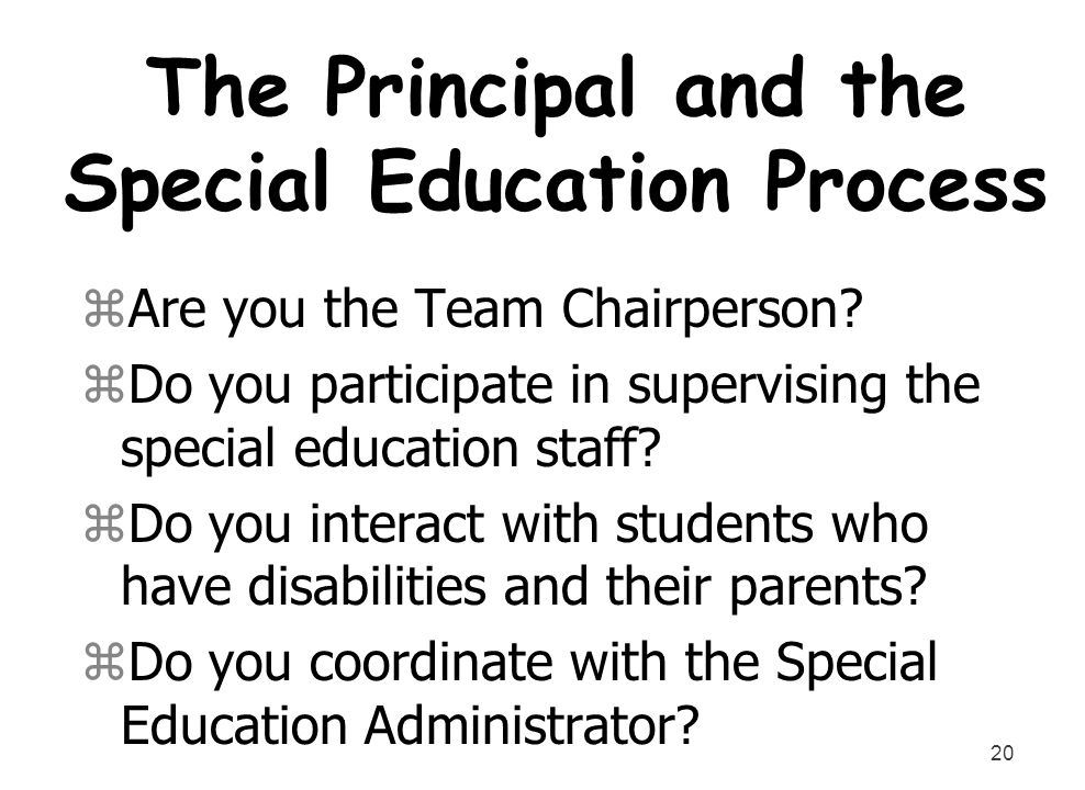 The Principal and the Special Education Process