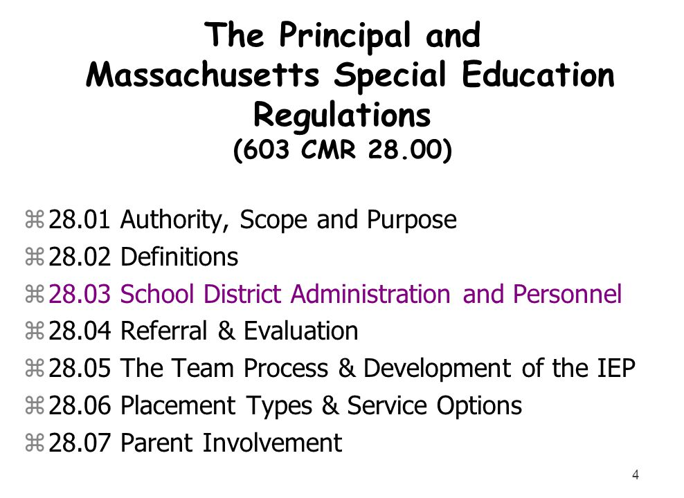 The Principal and Massachusetts Special Education Regulations (603 CMR 28.00)