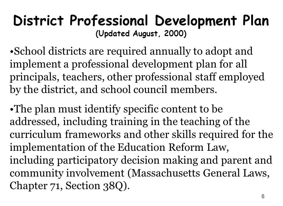 District Professional Development Plan (Updated August, 2000)