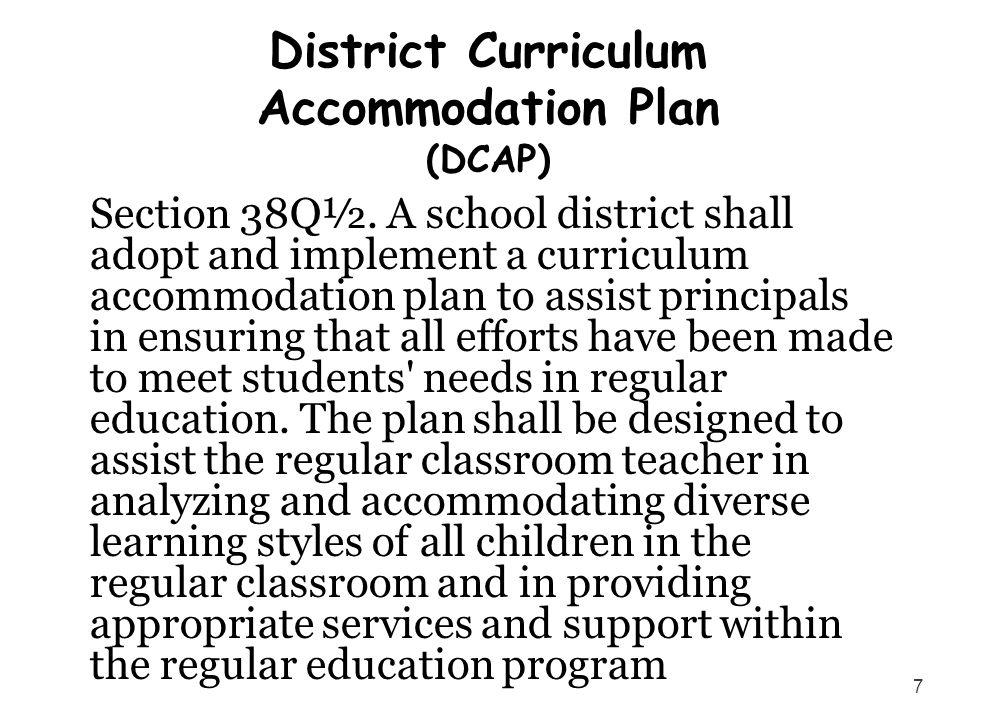 District Curriculum Accommodation Plan (DCAP)