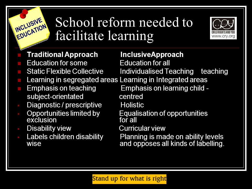 School reform needed to facilitate learning