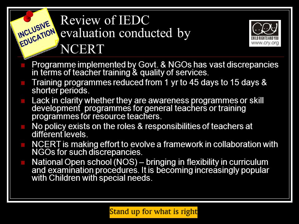 Review of IEDC evaluation conducted by NCERT