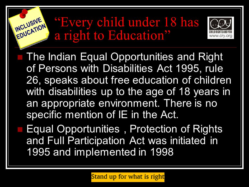 Every child under 18 has a right to Education