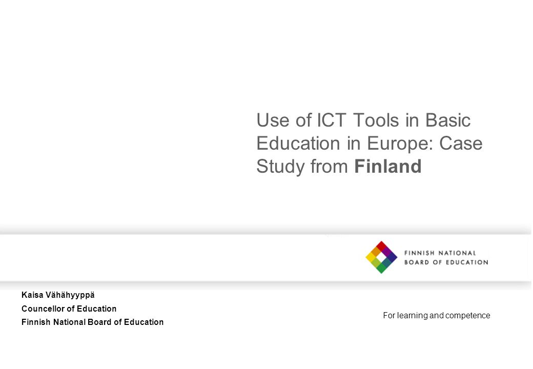 Use of ICT Tools in Basic Education in Europe: Case Study from Finland