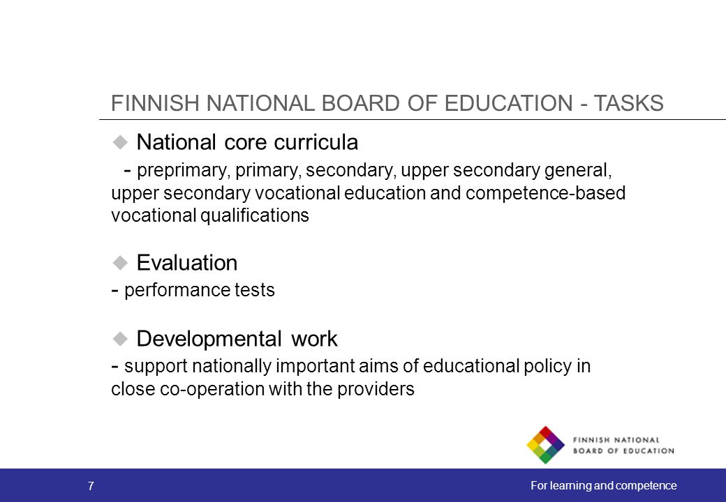 FINNISH NATIONAL BOARD OF EDUCATION - TASKS
