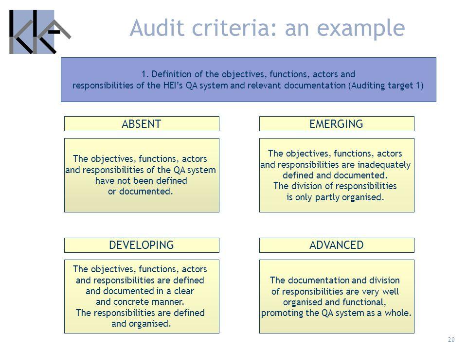 Audit criteria: an example