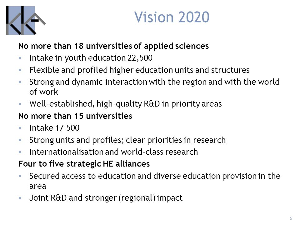 Vision 2020 No more than 18 universities of applied sciences