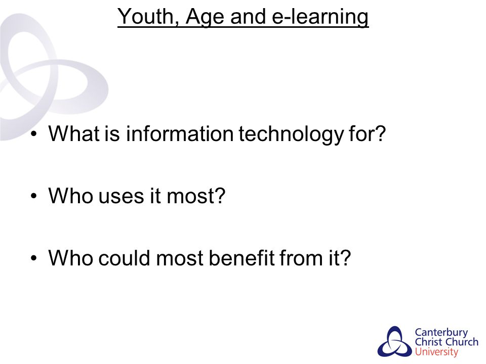 Youth, Age and e-learning