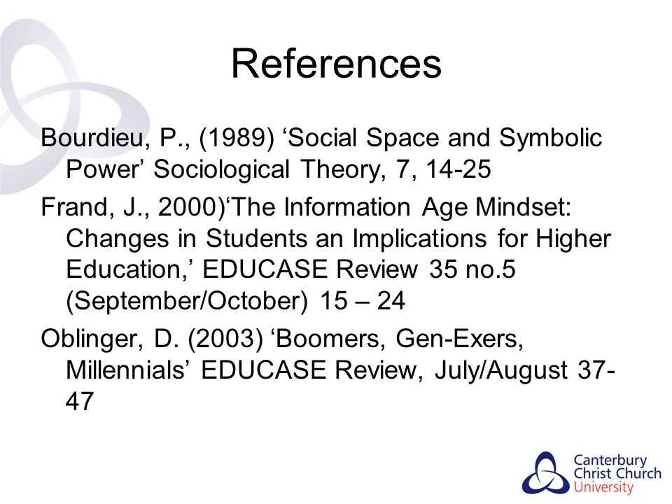 References Bourdieu, P., (1989) 'Social Space and Symbolic Power' Sociological Theory, 7, 14-25.
