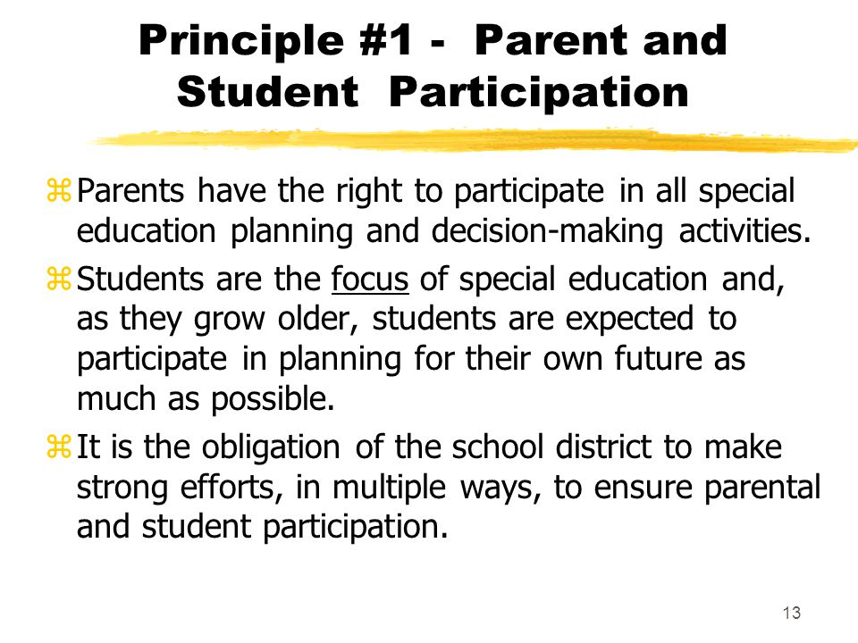 Principle #1 - Parent and Student Participation