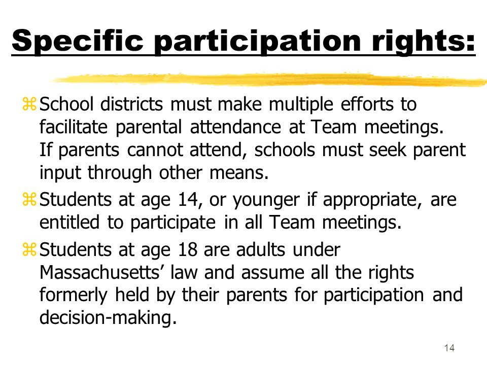 Specific participation rights: