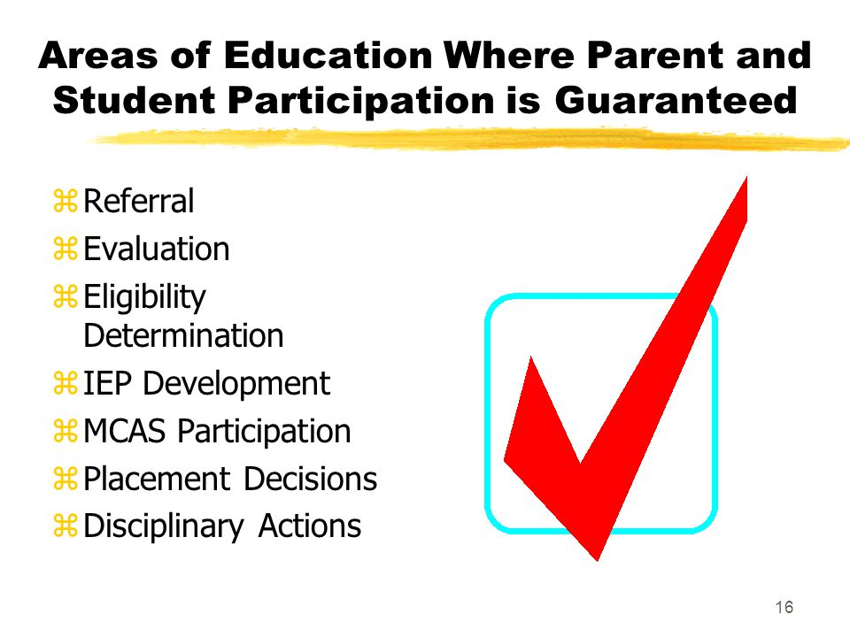 Areas of Education Where Parent and Student Participation is Guaranteed