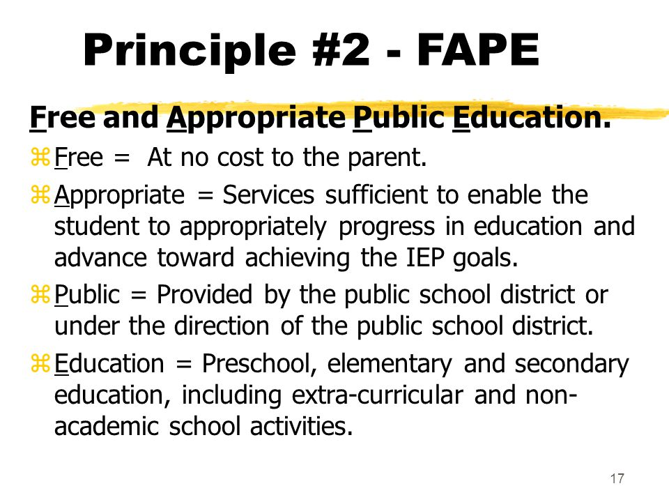 Principle #2 - FAPE Free and Appropriate Public Education.