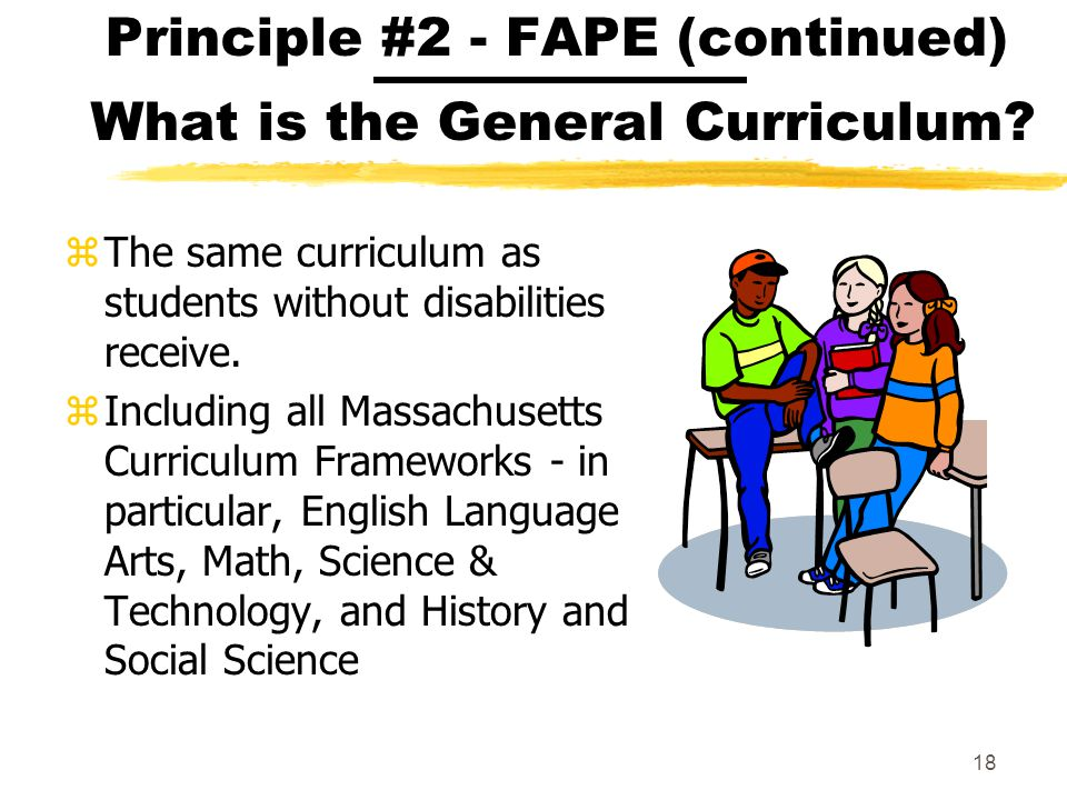 Principle #2 - FAPE (continued) What is the General Curriculum