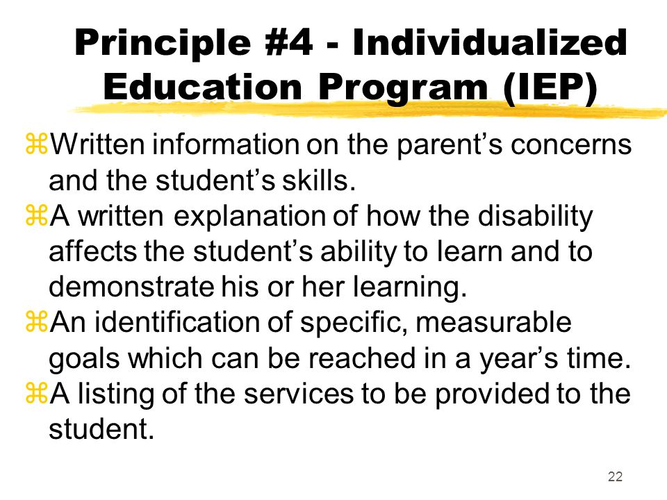 Principle #4 - Individualized Education Program (IEP)