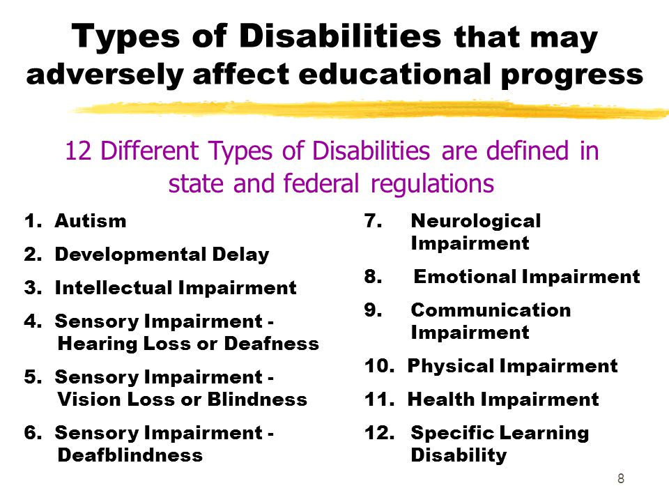 Types of Disabilities that may adversely affect educational progress