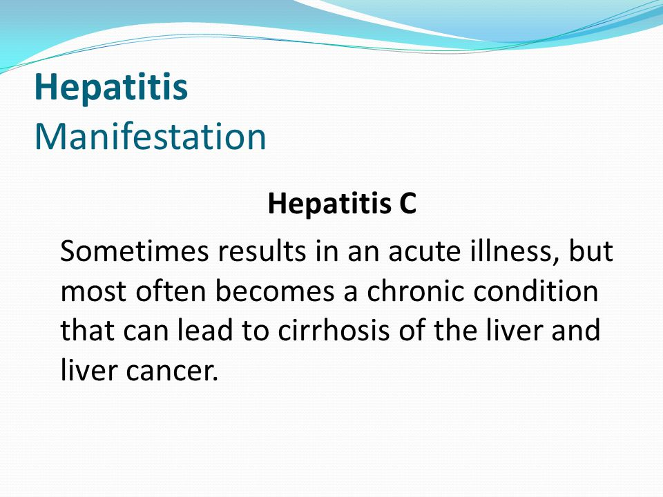 Hepatitis Manifestation