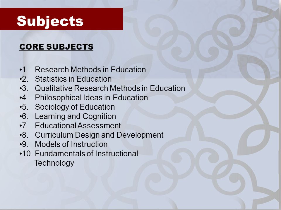 Subjects CORE SUBJECTS 1. Research Methods in Education