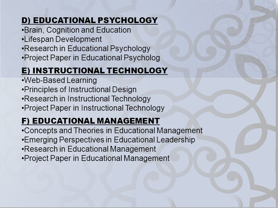 D) EDUCATIONAL PSYCHOLOGY