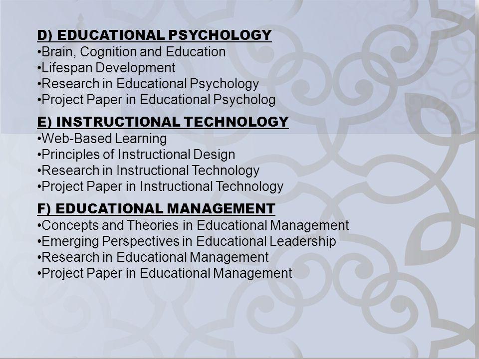 D) EDUCATIONAL PSYCHOLOGY