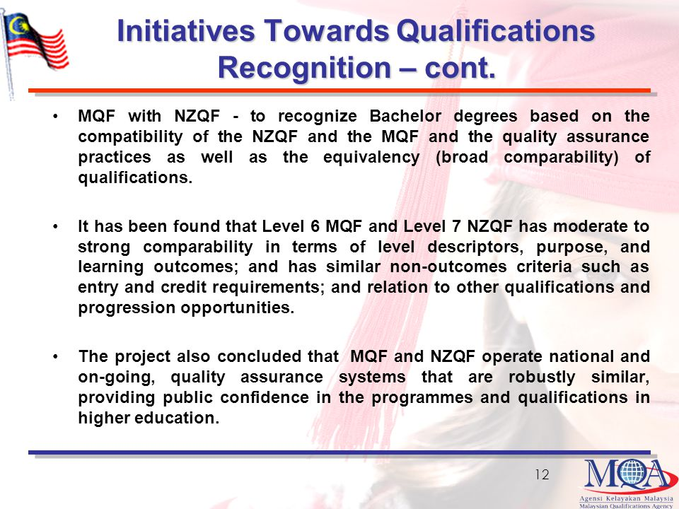 Initiatives Towards Qualifications Recognition – cont.